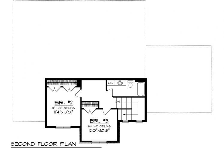Tudor House Plan -  68451 - 2nd Floor Plan
