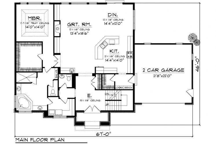 Modern House Plan -  68451 - 1st Floor Plan