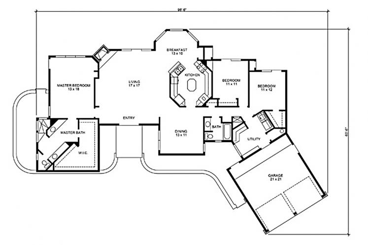 Modern House Plan - Avalon 68515 - 1st Floor Plan