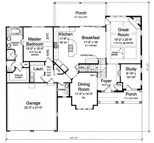 Cottage House Plan - Chamberlain 68604 - 1st Floor Plan