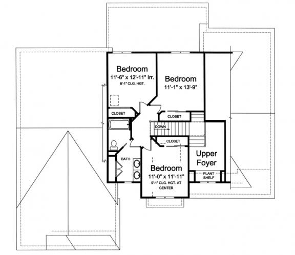 European House Plan - Chamberlain 68604 - 2nd Floor Plan