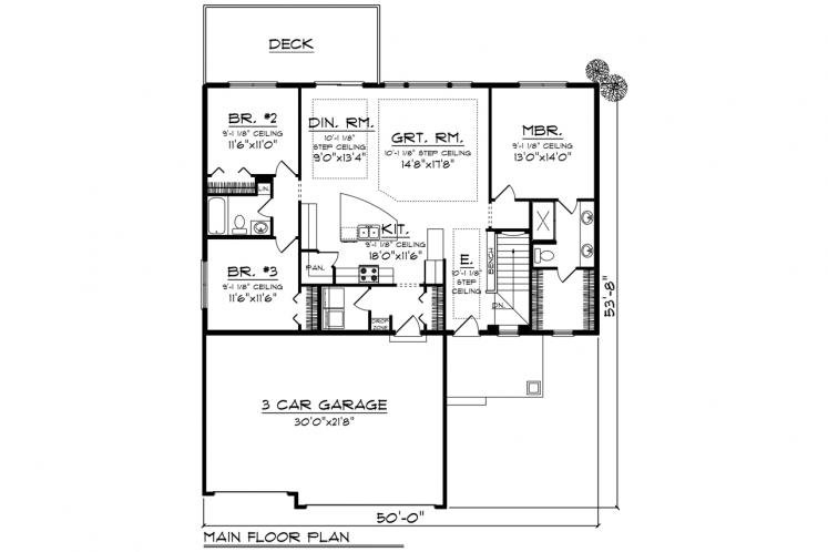 Traditional House Plan -  68701 - 1st Floor Plan