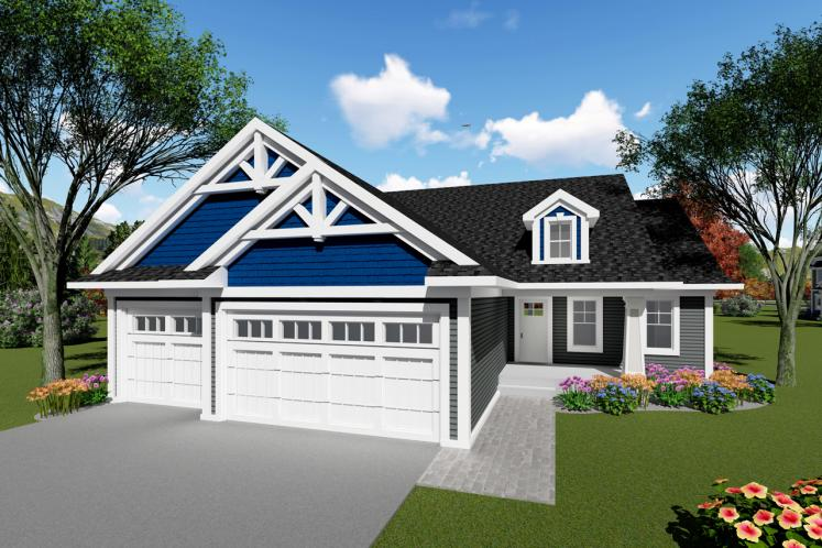 Craftsman House Plan -  68701 - Front Exterior
