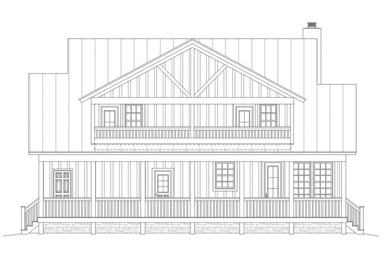 Farmhouse House Plan - Pea Ridge 68704 - Rear Exterior