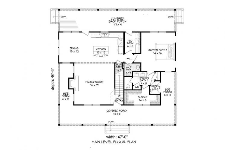 Farmhouse House Plan - Pea Ridge 68704 - 1st Floor Plan