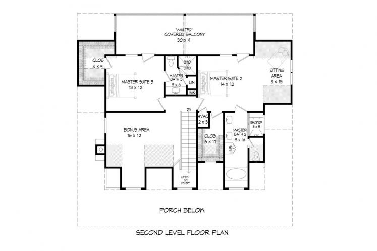 Country House Plan - Pea Ridge 68704 - 2nd Floor Plan