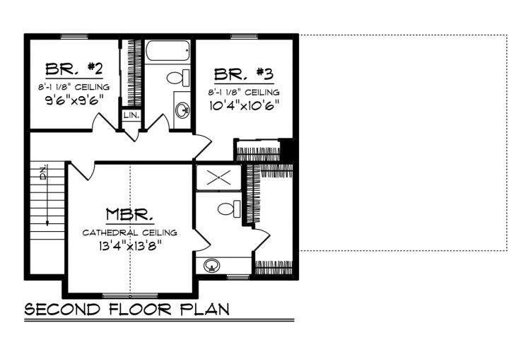 Country House Plan -  68889 - 2nd Floor Plan