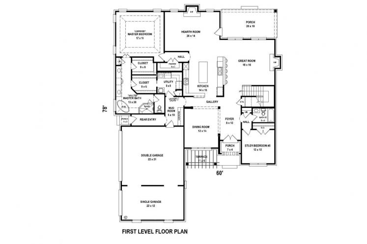 Country House Plan -  68980 - 1st Floor Plan