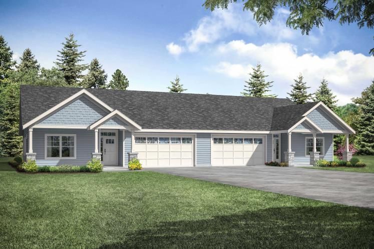 Cottage Multi-family Plan - Dewberry 69000 - Front Exterior
