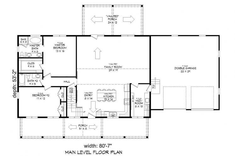 Ranch House Plan - Louisa Point 69208 - 1st Floor Plan
