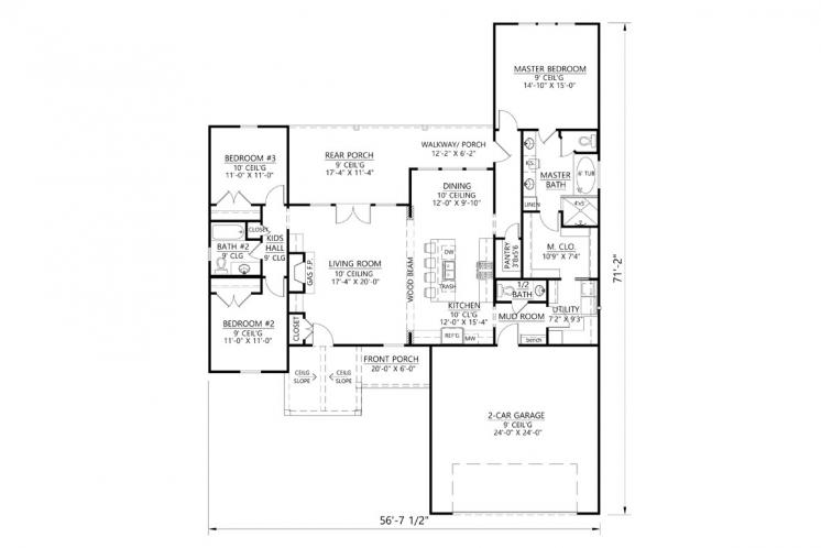 Craftsman House Plan - Hidden Creek 69325 - 1st Floor Plan