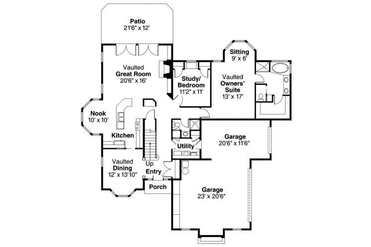 Traditional House Plan - Wichita 69561 - 1st Floor Plan