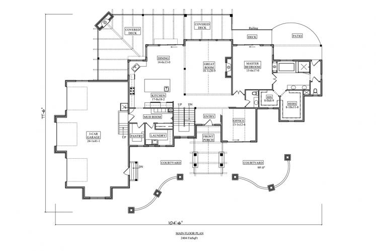 Lodge Style House Plan - Rim Rock 69562 - 1st Floor Plan