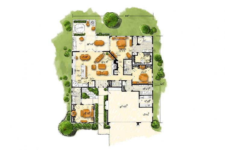 Ranch House Plan - Collingsworth 69636 - 1st Floor Plan