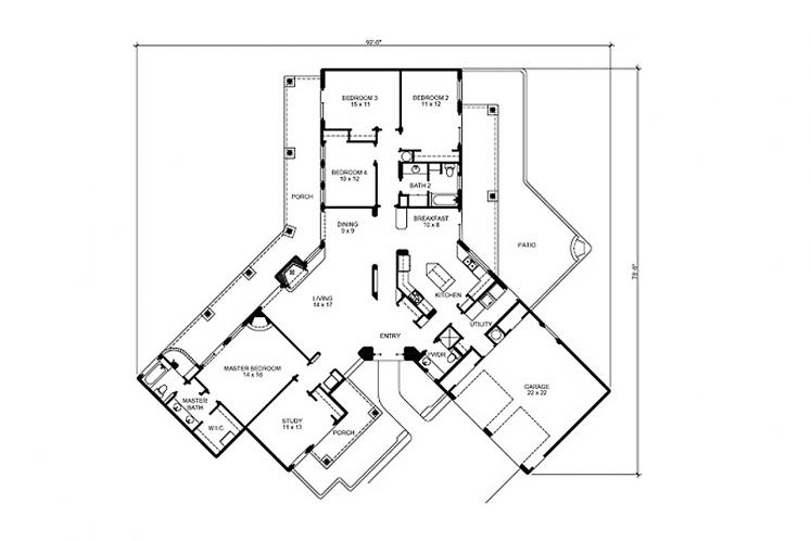 Spanish House Plan - Matador 69758 - 1st Floor Plan