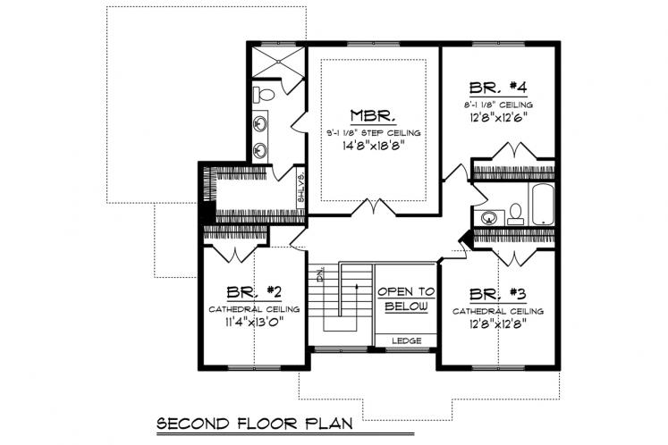 Craftsman House Plan -  69897 - 2nd Floor Plan