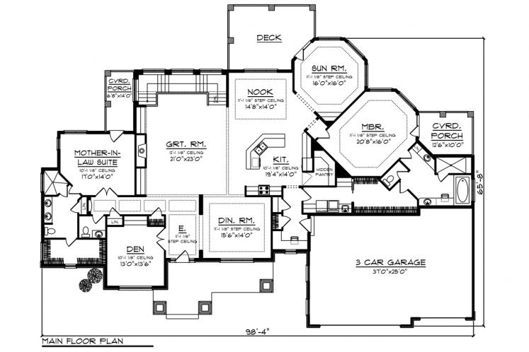 Traditional House Plan -  69917 - 1st Floor Plan