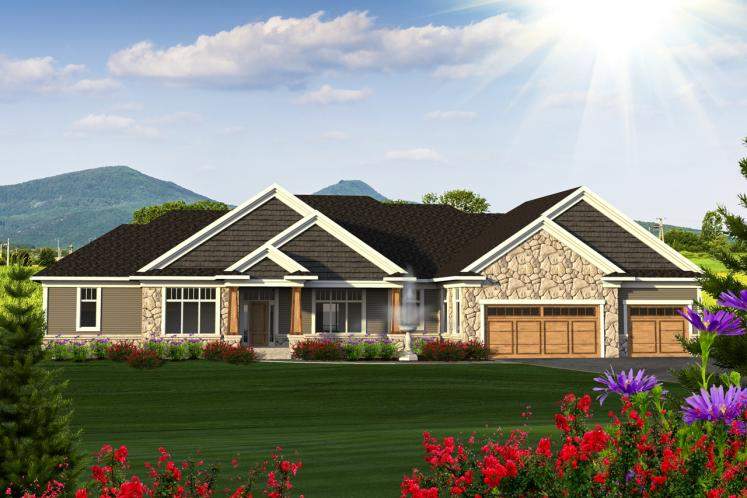 Ranch House Plan -  69917 - Front Exterior