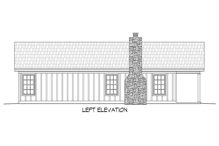 Traditional House Plan -  70012 - Left Exterior