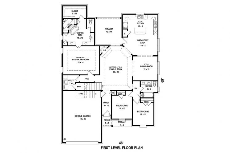 Classic House Plan -  70050 - 1st Floor Plan