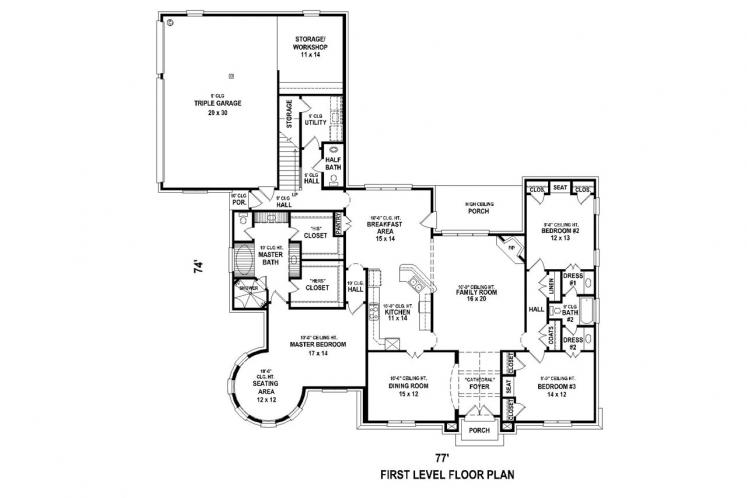 Country House Plan -  70084 - 1st Floor Plan