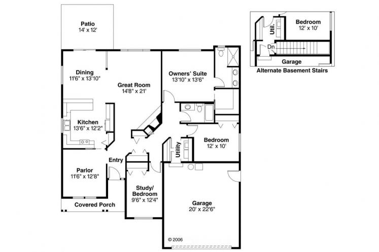 Country House Plan - Chapman 70135 - 1st Floor Plan