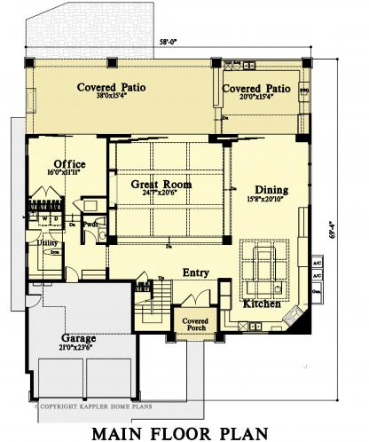 Modern House Plan -  70183 - 1st Floor Plan