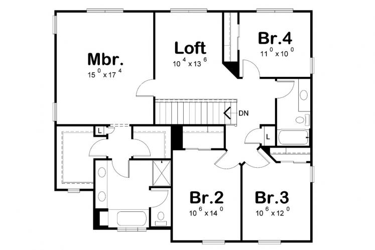 Cottage House Plan - Collinswood 70307 - 2nd Floor Plan