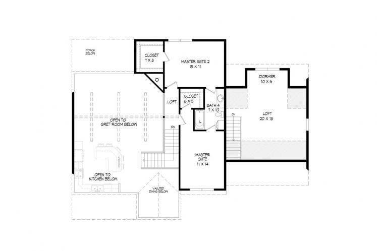 Country House Plan - Black Mountain 70498 - 2nd Floor Plan