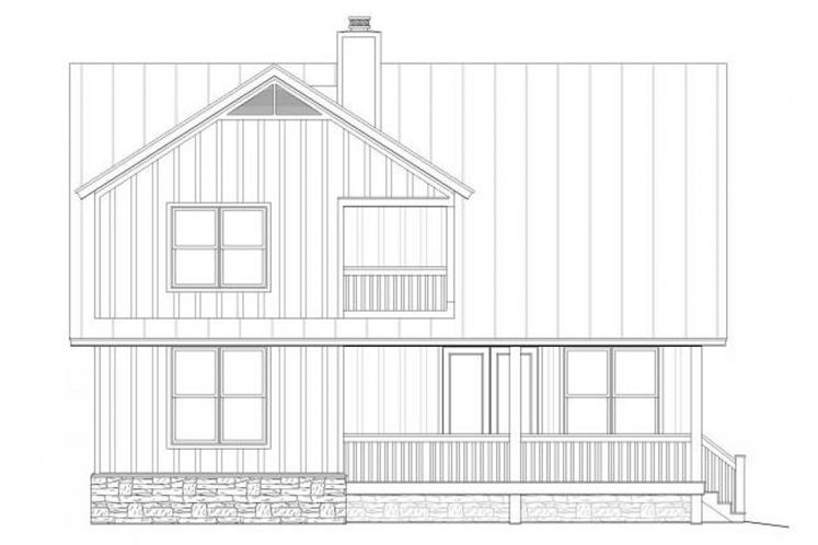 Country House Plan -  70684 - Rear Exterior