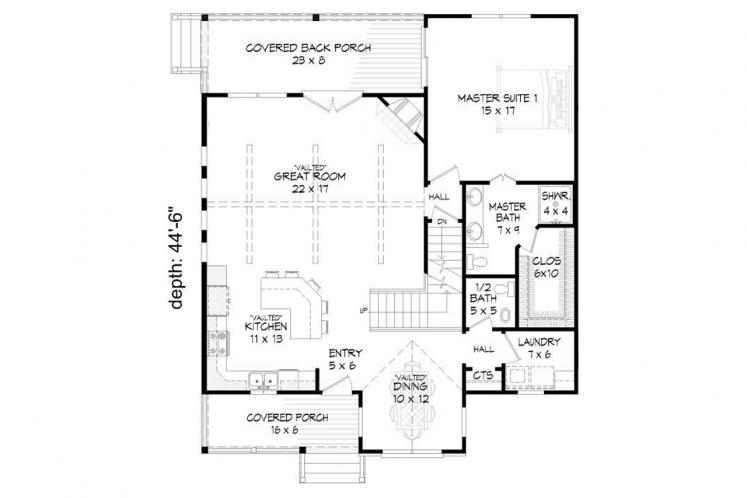Traditional House Plan -  70684 - 1st Floor Plan