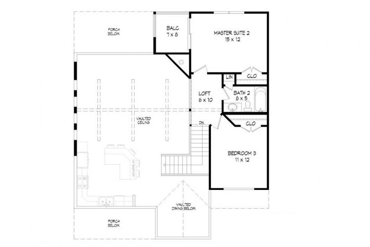 Cottage House Plan -  70684 - 2nd Floor Plan