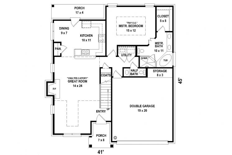 Southern House Plan -  70696 - 1st Floor Plan