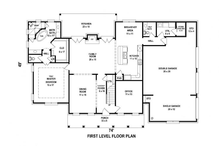 Southern House Plan -  70790 - 1st Floor Plan
