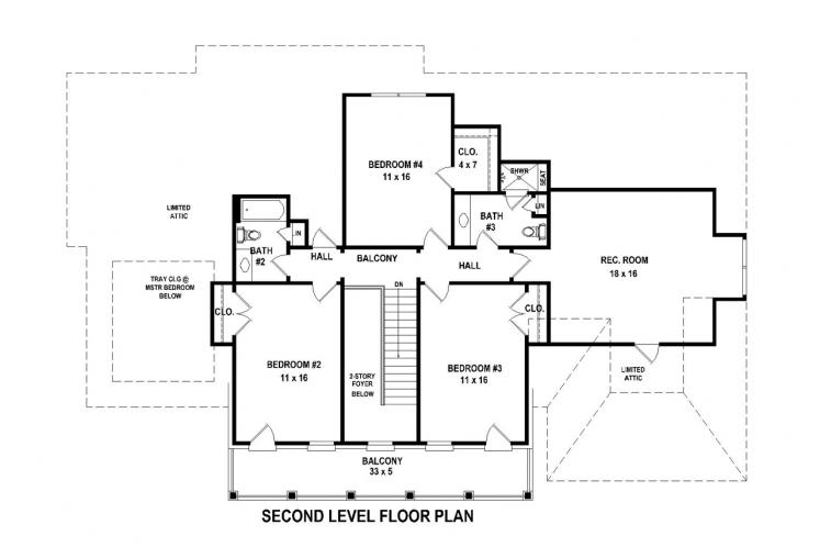 Colonial House Plan -  70790 - 2nd Floor Plan