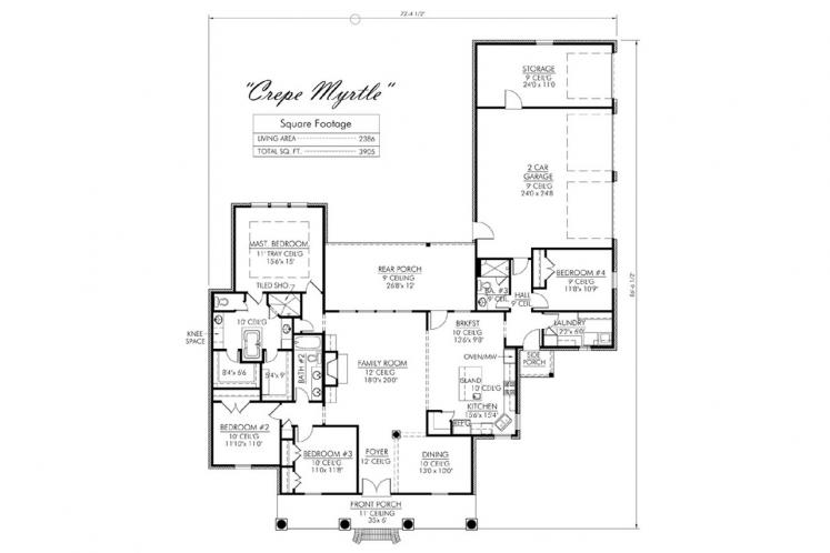 Southern House Plan - Crepe Myrtle 70983 - 1st Floor Plan