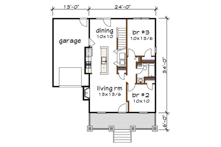 Bungalow House Plan -  71129 - 1st Floor Plan