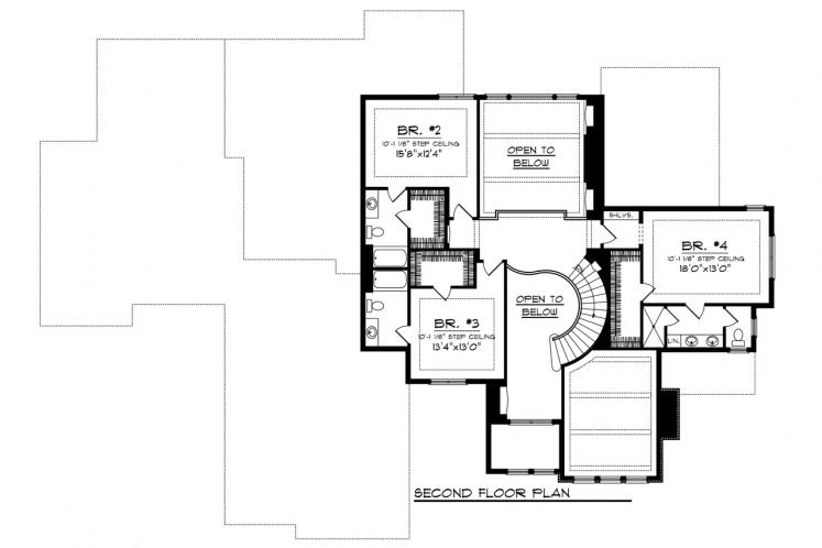 Lodge Style House Plan -  71396 - 2nd Floor Plan