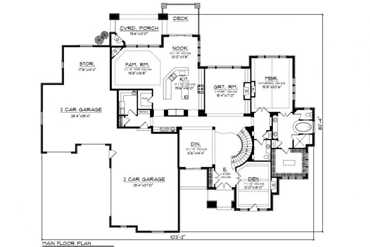 Prairie House Plan -  71396 - 1st Floor Plan