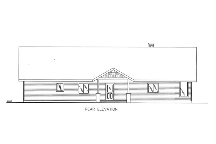 Traditional House Plan -  71439 - Rear Exterior