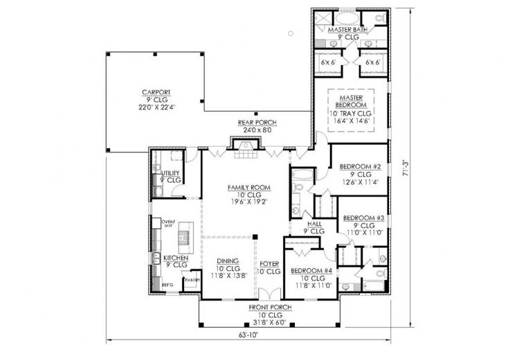 Classic House Plan - Fir 71616 - 1st Floor Plan