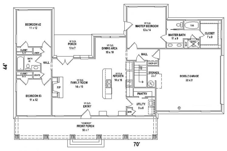 Country House Plan -  71681 - 1st Floor Plan