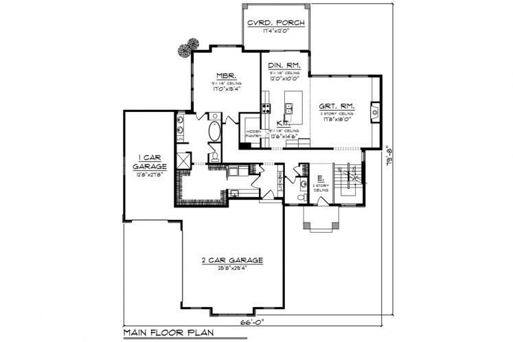 Contemporary House Plan -  71880 - 1st Floor Plan