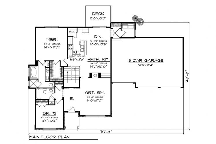Ranch House Plan -  71918 - 1st Floor Plan