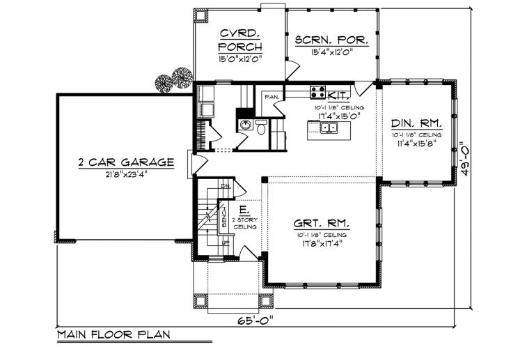 Traditional House Plan -  71932 - 1st Floor Plan