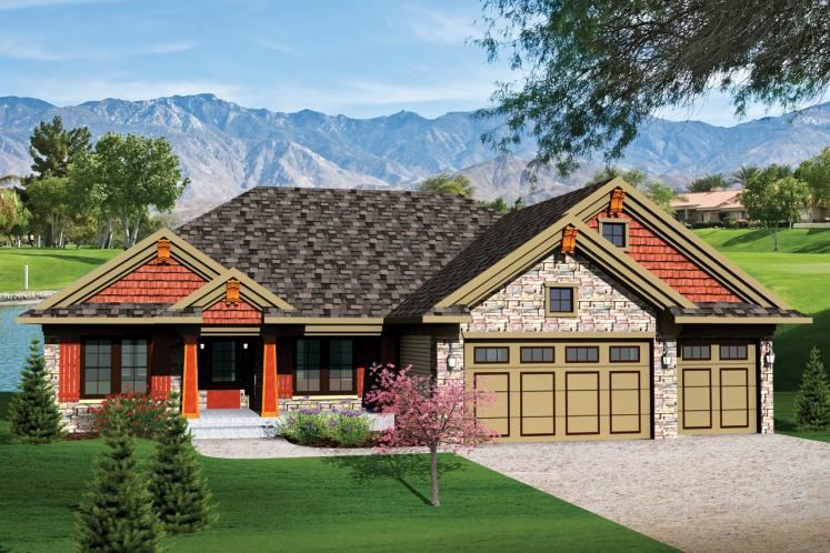 Ranch House Plan -  72088 - Front Exterior