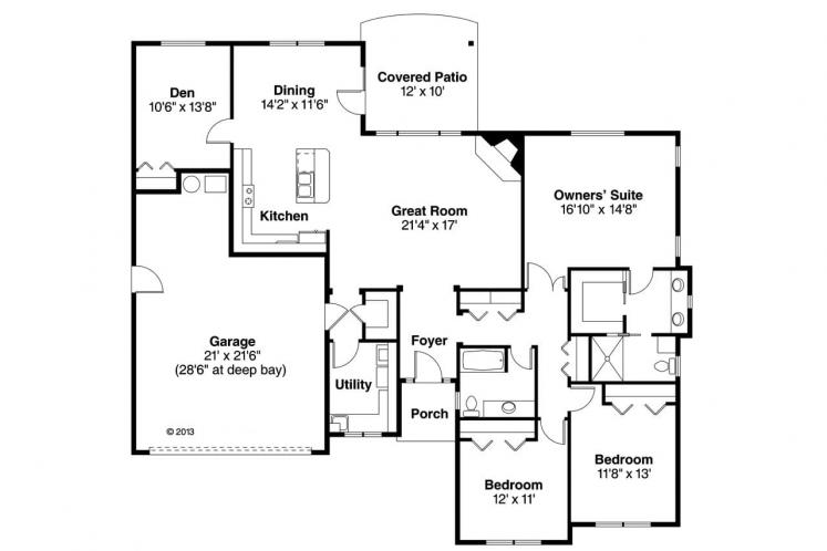 Prairie House Plan - Lake Creek 72105 - 1st Floor Plan
