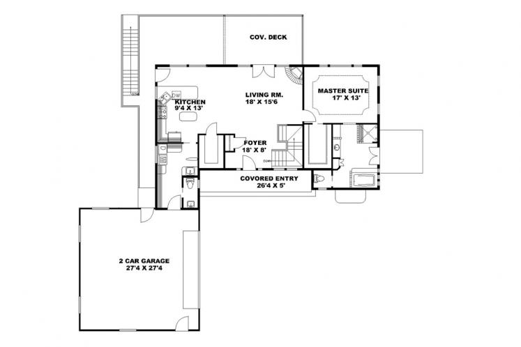 Traditional House Plan -  72281 - 1st Floor Plan