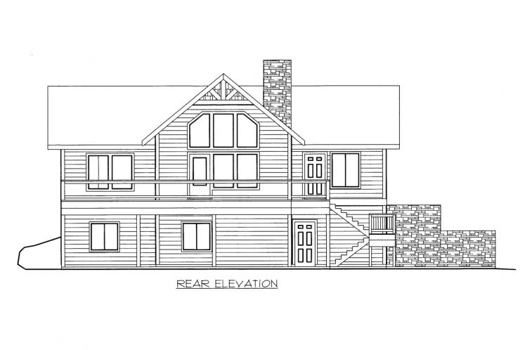 Traditional House Plan -  72422 - Rear Exterior