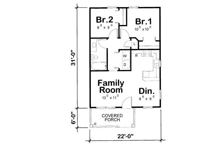Cottage House Plan - Mylitta Cottage 72566 - 1st Floor Plan
